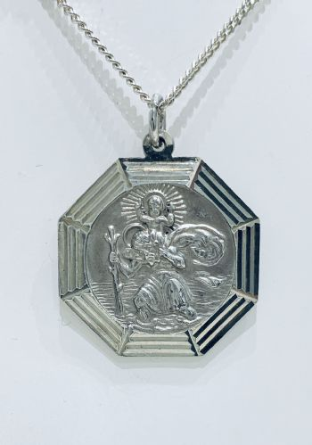 Sterling Silver Octagonal St. Christopher Including Chain